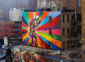 """Sailor Kiss"" Mural von Eduardo Kobras - Blick von The High Line"